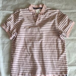 J.crew cotton pink striped polo